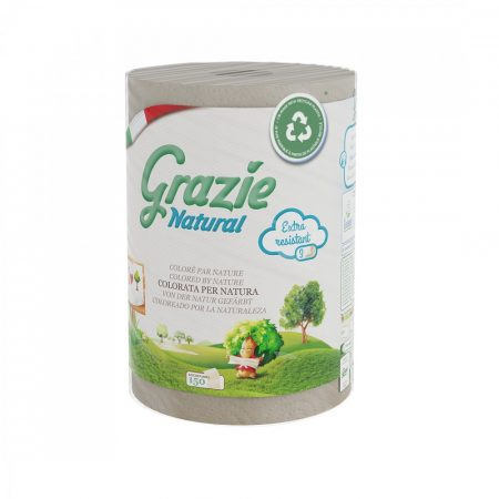 Lucart GRAZIE NATURAL Tekercses kéztörlő 3 rétegű, 150 lap/tek, 12 tekercs/zsák, 40 zsák/raklap