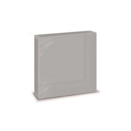 Szalvéta, 33x33cm, ezüst színű 2 rétegű, 20 lap/csomag, 30 csomag/karton
