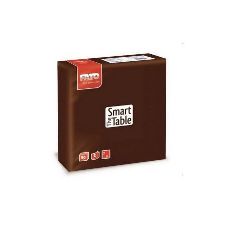 Szalvéta, 33x33cm, csokoládébarna, 2 rétegű, 50 lap/csomag, 24 csomag/karton