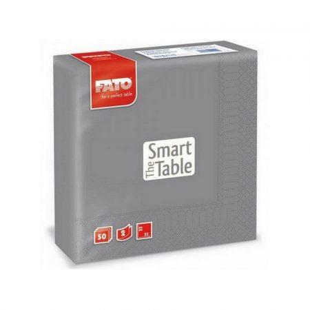 Szalvéta, 33x33cm, szürke, 2 rétegű, 50 lap/csomag, 24 csomag/karton