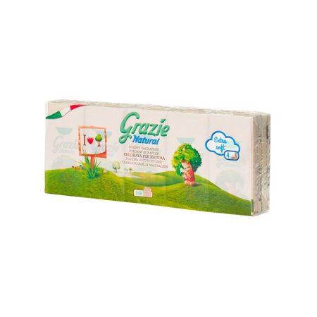 Lucart GRAZIE NATURAL Papírzsebkendő 4 rétegű 10x9 szál/csomag, 24 csomag/karton, 48 karton/raklap