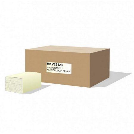 V hajtogatott kéztörlő 2 rétegű, fehér, 21x23cm, 100% cellulóz, 20x160 lap/karton, 44 karton/raklap