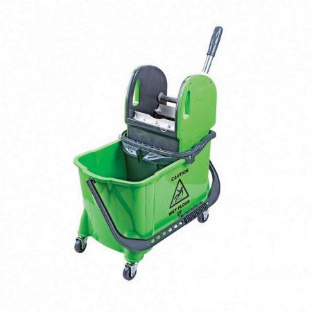 Takarítókocsi, műanyag vázas, zöld, 24 literes