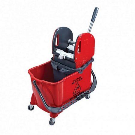Takarítókocsi, műanyag vázas, piros, 24 literes