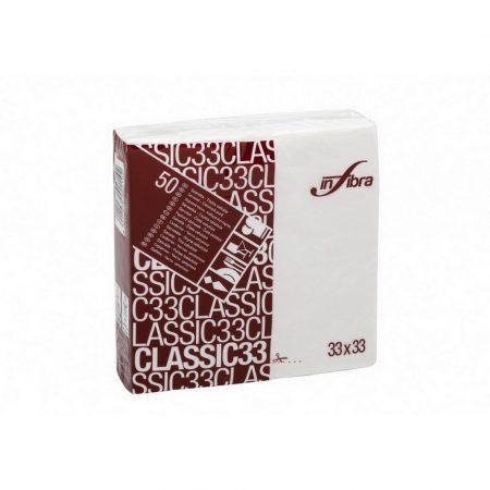 Infibra Szalvéta 33x33cm, fehér, 2 rétegű, 50 lap/csomag, 48 csomag/karton