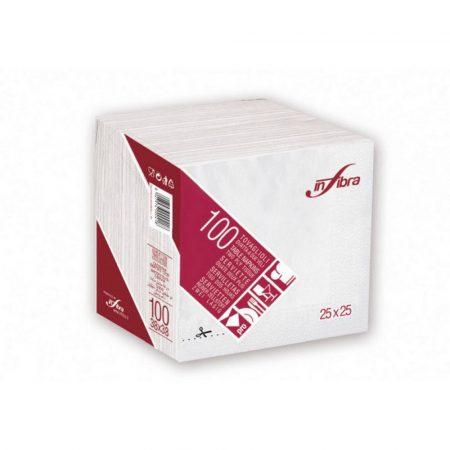 Infibra Szalvéta 25x25cm fehér 2 réteg 100 lap/csomag (30 csomag/karton)