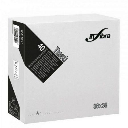 Infibra Szalvéta 38x38cm Fehér 2réteg 40lap/csg 36csg/karton 24kart/rl