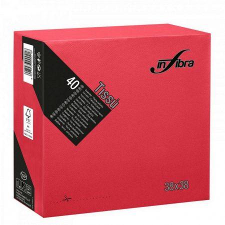 Infibra Szalvéta 38x38cm Piros 2réteg 40lap/csg 36csg/karton 24kart/rl