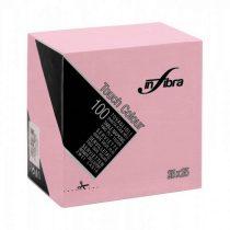 Infibra Szalvéta 25x25cm pink  2 réteg 100 lap/csomag 30 csomag/karton