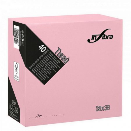 Infibra Szalvéta 38x38cm Pink 2 réteg 40 lap/csomag (36 csomag/karton)