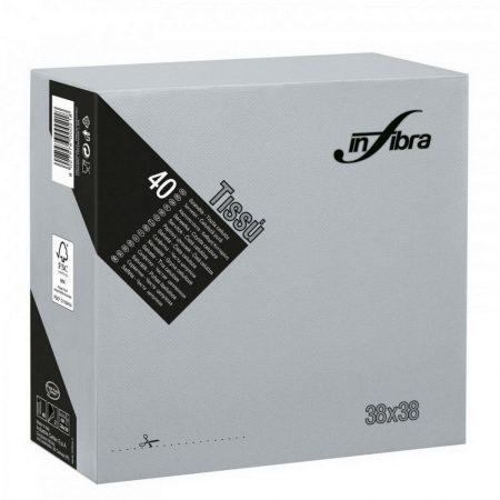 Infibra Szalvéta 38x38cm Szürke 2 réteg 40 lap/csomag (36 csomag/karton)