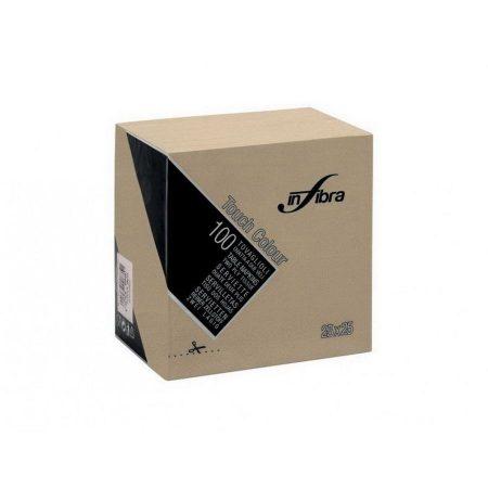 Infibra Szalvéta 25x25cm greige szürkés bézs  2 réteg 100 lap/csomag 30 csomag/karton