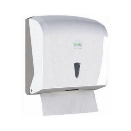 Vialli Z hajtogatott kéztörlő adagoló ABS műanyag, fehér maximum 23cm széles papírhoz