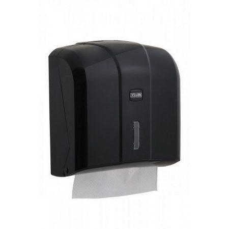 Vialli V hajtogatott kéztörlő adagoló ABS műanyag, fekete