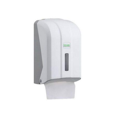 Vialli hajtogatott toalettpapír adagoló fehér műanyag