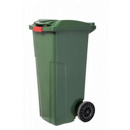 Műanyag szemetes kuka zöld rögzíthető fedéllel 120L