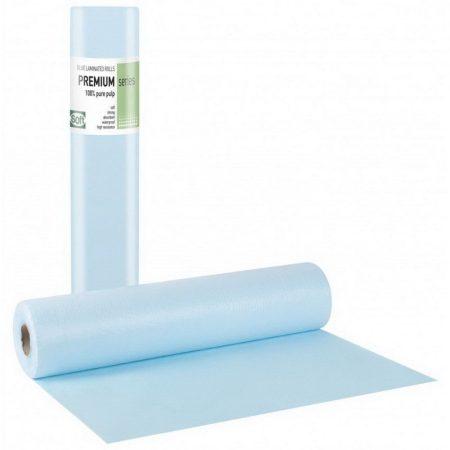 Orvosi lepedő fóliával ELITE kék Papír+PE 50cm 50m 132 lap, 12 tekercs/karton, 32 karton/raklap