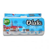 Olala Pure White kistekercses toalettpapír 3 rétegű fehér 10 tekercses, 8 csomag/zsák