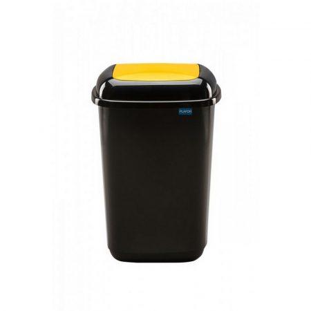 Plafor Quatro rugós  billenő fedeles szemetes 45L fekete/sárga