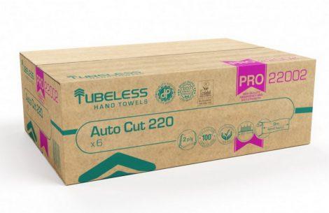 Tubeless AUTOCUT PRO 220 tekercses kéztörlő 2 rétegű, fehér, 100% cellulóz, 221,5m, 6db/karton