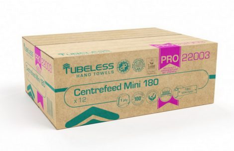 Tubeless PRO 180 Mini tekercses kéztörlő 1 rétegű, fehér, 100% cellulóz, 726lap, 181,5m 12db/zsugor