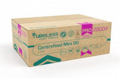 Tubeless PRO 90 Mini tekercses kéztörlő 2 rétegű, fehér, 100% cellulóz, 92m, 12 tekercs/zsugor
