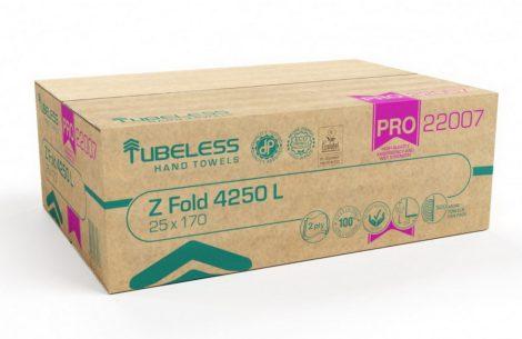 Tubeless Z Hajtogatott kéztörlő 2 rétegű, 100% cellulóz, 20,3x24cm, 25x170 lap 4250 lap/karton