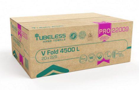 Tubeless V Hajtogatott kéztörlő 2 rétegű, fehér, 100% cellulóz, 22x21cm, 20x225lap 4500lap/karton