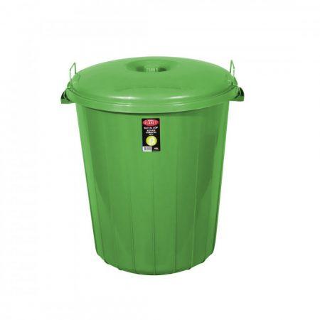 Kerek szemetes kuka, fedéllel, zárható, műanyag, eco ZÖLD 70 literes