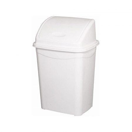 Billenőfedeles szemetes kuka, műanyag, LUXURY fehér, 9 literes (255x195x365mm) 32 db/#