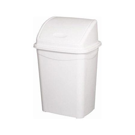 Billenőfedeles szemetes kuka, műanyag, LUXURY fehér, 16 literes (300x230x440mm) 16 db/#