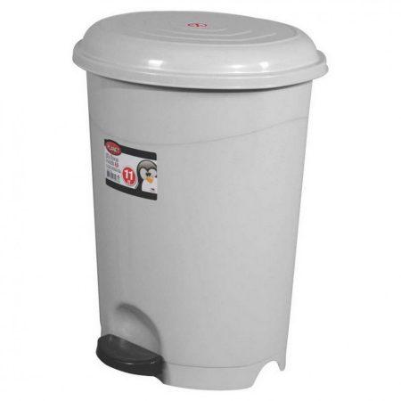 Pedálos szemetes kuka, műanyag, ECO szürke, kivehető kosárral, 12L
