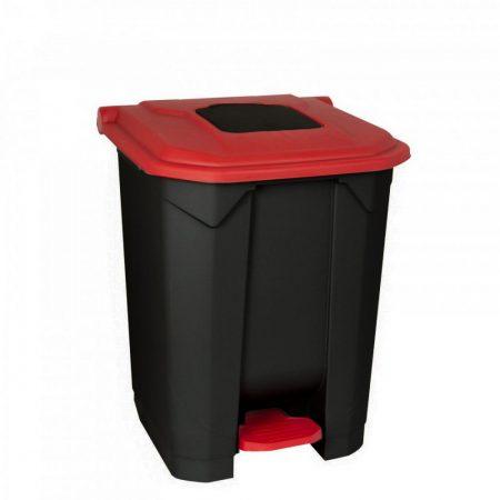 Szelektív hulladékgyűjtő konténer, műanyag, pedálos, fekete/piros, 50L