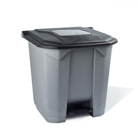 Szelektív hulladékgyűjtő konténer, műanyag, pedálos, fekete, 30L