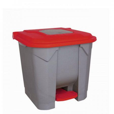 Szelektív hulladékgyűjtő konténer, műanyag, pedálos, PIROS, 30L