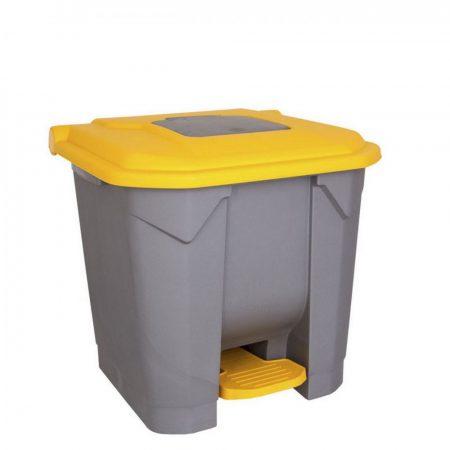 Szelektív hulladékgyűjtő konténer, műanyag, pedálos, SÁRGA, 30L