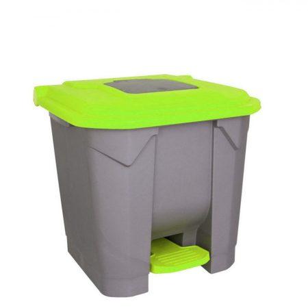 Szelektív hulladékgyűjtő konténer, műanyag, pedálos, ZÖLD, 30L