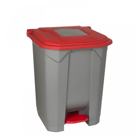 Szelektív hulladékgyűjtő konténer, műanyag, pedálos, PIROS, 50L