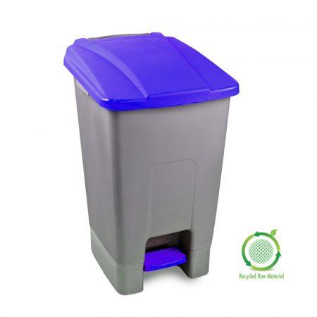 Szelektív hulladékgyűjtő konténer, műanyag, pedálos, KÉK, 70L