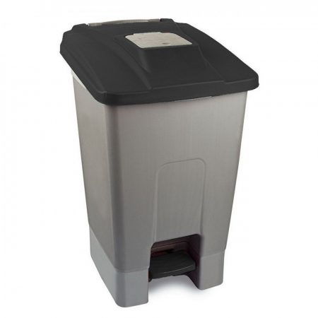 Szelektív hulladékgyűjtő konténer, műanyag, pedálos, fekete, 100L
