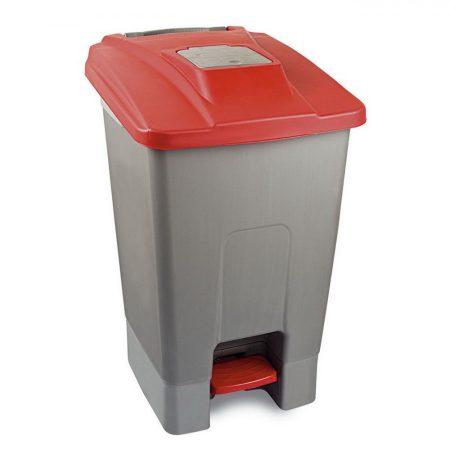 Szelektív hulladékgyűjtő konténer, műanyag, pedálos, PIROS, 100L