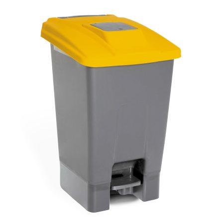 Szelektív hulladékgyűjtő konténer, műanyag, pedálos, sárga, 100L