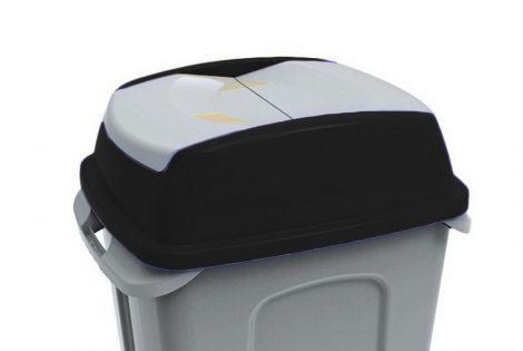 Hippo hulladékgyűjtő szemetes fedél, műanyag, fekete, 50L