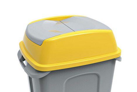 Hippo hulladékgyűjtő szemetes fedél, műanyag, sárga, 50L