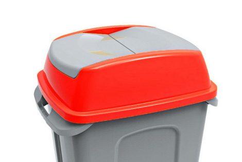 Hippo hulladékgyűjtő szemetes fedél, műanyag, piros, 70L