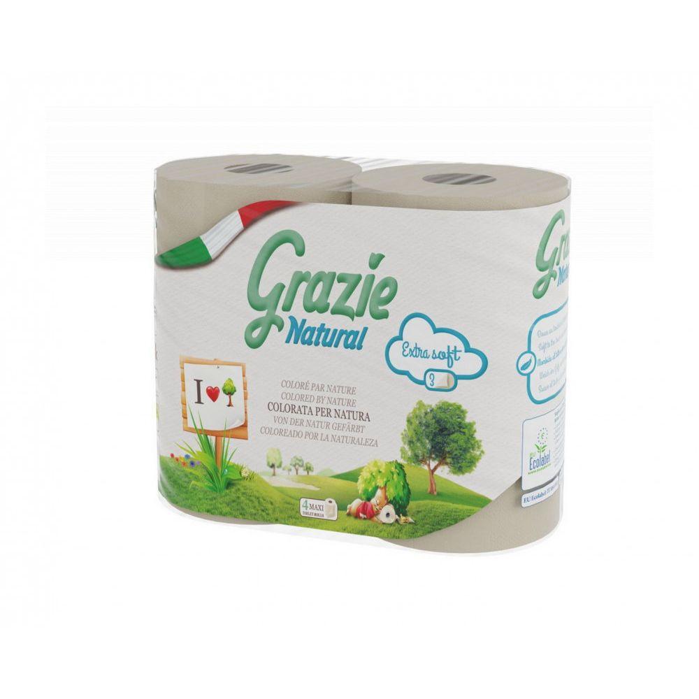 Lucart GRAZIE NATURAL háztartási toalettpapír, 3 rétegű, 4 tekercs/csomag, 14 csomag/zsák