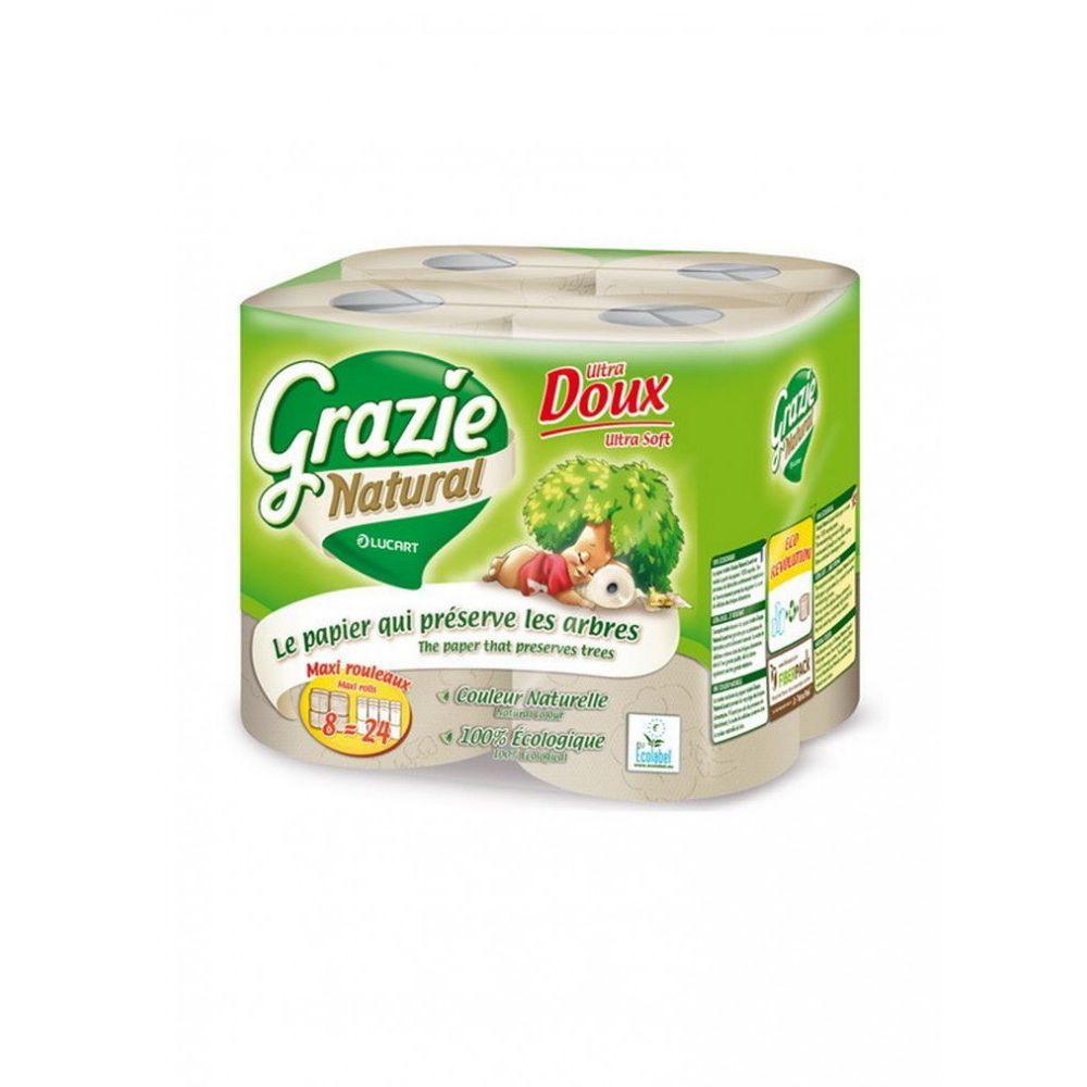 Lucart GRAZIE NATURAL háztartási toalettpapír 2 rétegű, 8 tekercs/csomag, 6 csomag/zsák