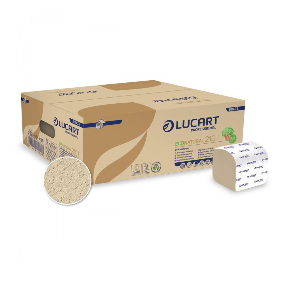 Lucart ECO Natural 210I hajtogatott toalattpapír, 2 rétegű, barna, 40x210lap/karton