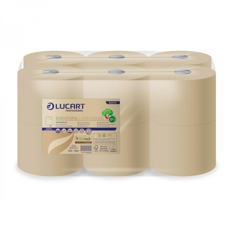 Lucart L-One Eco Natural 180m toalettpapír, 2réteg, Belső/pont, laponkénti adagolású 12 tekercs