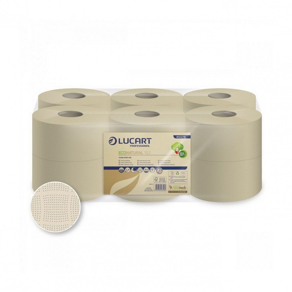 Lucart ECO Natural Mini közületi toalettpapír 19cm 160m 2 rétegű 12 tekercs/zsugor 40 zsugor/raklap